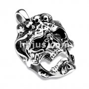 Skull with Horns and Three Skulls Stainless Steel Pendant