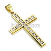 316L Stainless Steel Mult CZ Cross Gold PVD Pendant