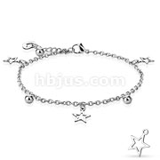 Star, Ball, and Heart Dangling Charm 316L Stainless Steel Anklet Bracelet