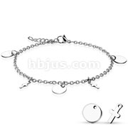 Round and Cross Dangling Charms 316L Stainless Steel Chain Anklet Bracelet