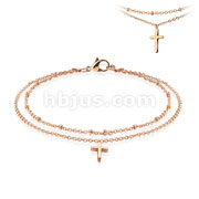 Cross Dangling Charm 316L Stainless Steel Anklet Bracelet