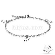 Dangling Butterfly Charm 316L Stainless Steel Anklet Bracelet