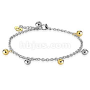 Gold and Silver Ball Beads with Heart Dangling Charm Chain 316L Stainless Steel Anklet Bracelet
