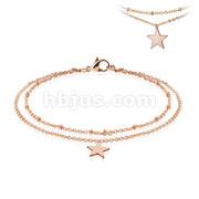Star Dangling Charm Stainless Steel Anklet Bracelet