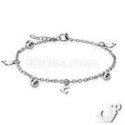 Dangling Dolphin and Ball Charm Chain 316L Stainless Steel Anklet Bracelet