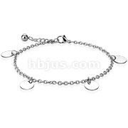 Round Charm Dangle 316L Stainless Steel Chain Anklet Bracelet