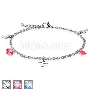 Dangle Cross Charm CZ 316L Stainless Steel Chain Bracelet