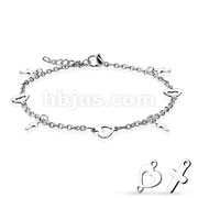 Heart and Cross Dangling Charms 316L Stainless Steel Chain Anklet Bracelet