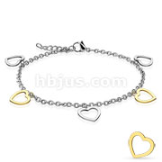 Gold and Steel Heart Dangling Charms 316L Stainless Steel Anklets Bracelets