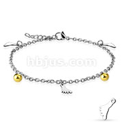 Dangling Foot Charm and Ball chain 316L Stainless Steel Anklet Bracelet