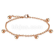 Multi Dangle Ball Charm Stainless Steel Chain Anklet Bracelet