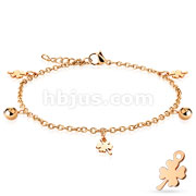 Shamrock and Ball Dangling Charm 316L Stainless Steel Anklet Bracelet