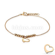 Dangling Heart and Multi Beads Chain 316L Stainless Steel Anklet Bracelet