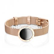 Petite Rose Gold Roman Numeral with Black Enamel Center Stainless Steel Bracelet