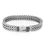 Double Line SquareItalian Curb Chain Bracelets with Black CZ Set Clasps
