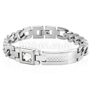 Checkered Plate with Square CZ Stainless Steel Bracelet