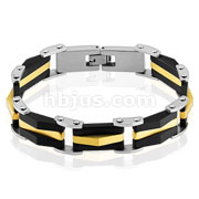 Two Tone Black and Gold IP 316L Stainless Steel Link Bracelet