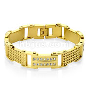 Double Lined CZ and Spiked Plates Linked Gold IP Stainless Steel Bracelets