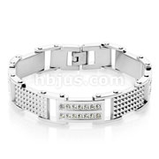 Double Lined CZ and Spiked Plates Linked Hand Polished Stainless Steel Bracelets