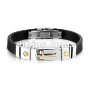Gold Plated Cross 316L Stainless Steel ID Plate Rubber Straps Bracelet