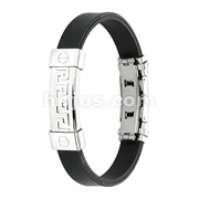 Tribal Maze 316L Stainless Steel ID Plate Rubber Straps Bracelet