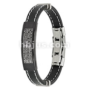 Spanish Lord's Prayer ID Plate Stitch Accent Rubber Stainless Steel Bracelet