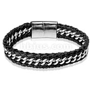Steel Chain Centered Leather Bracelet with Large Engravable Slide In Clasp