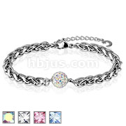 Ferido Multi Crystal Paved Ball Stainless Steel Chain Bracelet