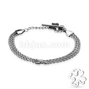 Hollow Shamrock End Triple Braided Chain Stainless Steel Bracelets