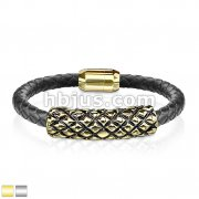 Scaled Stainless Steel Tube with Magnetic Clasp Leather Bracelet