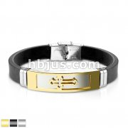 Cross Embossed Steel Plate With Silicon Rubber Strap Bracelet