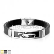 Scorpion Embossed Steel Plate With Silicon Rubber Strap Bracelet