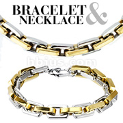 Square Duo Tone Gold IP Chain Link 316L Stainless Steel Bracelet & Necklace Combo Set
