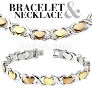 Tri-Tone Hearts 316L Stainless Steel Bracelet & Necklace Combo Set