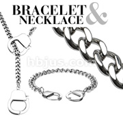 Chain Hand Cuff 316L Stainless Steel Bracelet & Necklace Combo Set