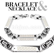 Square Cylinder Tribal Link Stainless Steel Bracelet & Necklace Combo Set