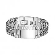 Engraving Plate & Double Chains on each side 316L Stainless Steel Bracelet