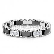 Paved Gem & Black Link 316L Stainless Steel Bracelet
