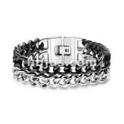 Dual Black IP Band 316L Stainless Steel Bracelet