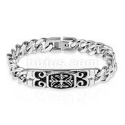 Celtic Cross Engraved Plate 316L Stainless Steel Chain Bracelet