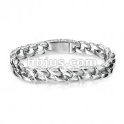 Wave Design on the Side 316L Stainless Steel Chain Bracelet
