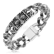 Celtic Cross and Engraved Links 316L Steel Casted Bracelet