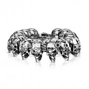 Stainless Steel Linked Biker Skulls Bracelet