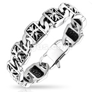 Decorative Cross Engraved Plate Chain Stainless Steel Bracelet
