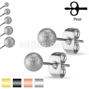 30 Pairs of Sand Blast Finish Ball Ear Stud Rings Bulk Pack (6 Pairs x 5 Sizes = 30 Pairs)