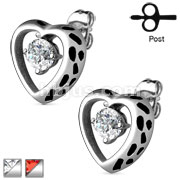 Pair of Heart Ribbon with CZ Accent 316L Surgical Steel Earrring