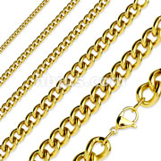 Gold Plated Stainless Steel Curb Chain Necklaces