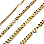 Gold PVD Stainless Steel Box Chain Necklaces
