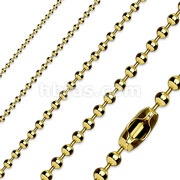 Gold Plate 316L Stainless Steel Ball Chain Necklace
