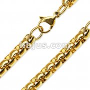 Gold PVD Stainless Steel Round Box Chain Necklaces